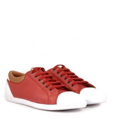 Zapatillas de cuero rojo combinadas