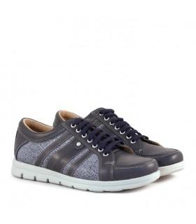 Zapatillas de cuero azul combinadas