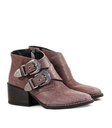 Botas cortas de cuero gris