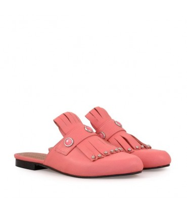 Slippers de cuero rosa
