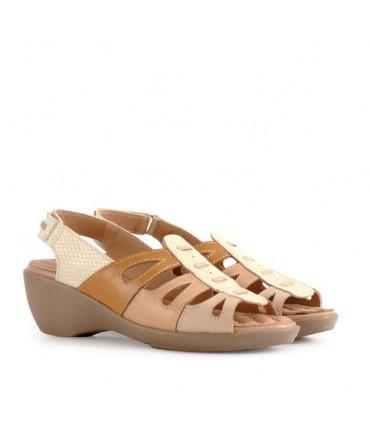 Sandalias de cuero en beige combinado
