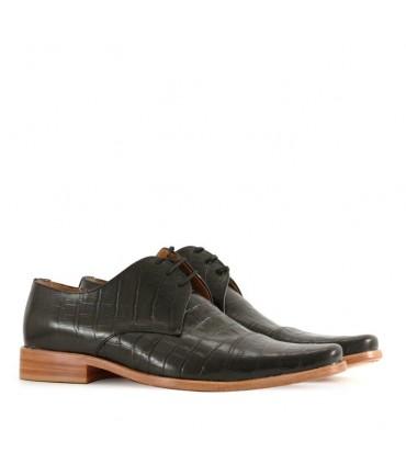 Zapatode vestir en cuero croco negro