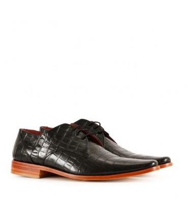Zapatos de cuero croco en negro