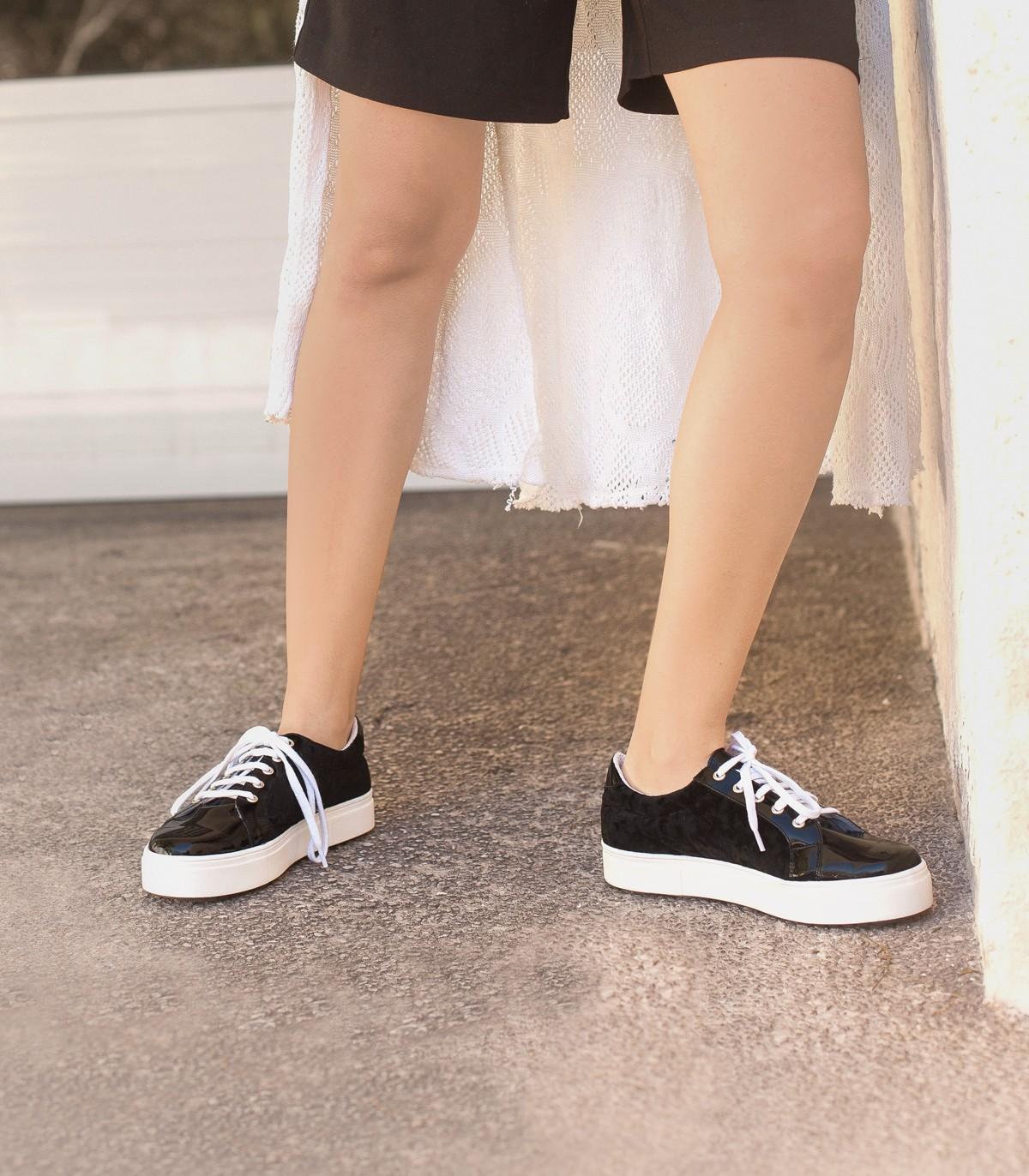 d61666f34b9 Zapatillas de charol negro combinado – Zapatillas de mujer ...