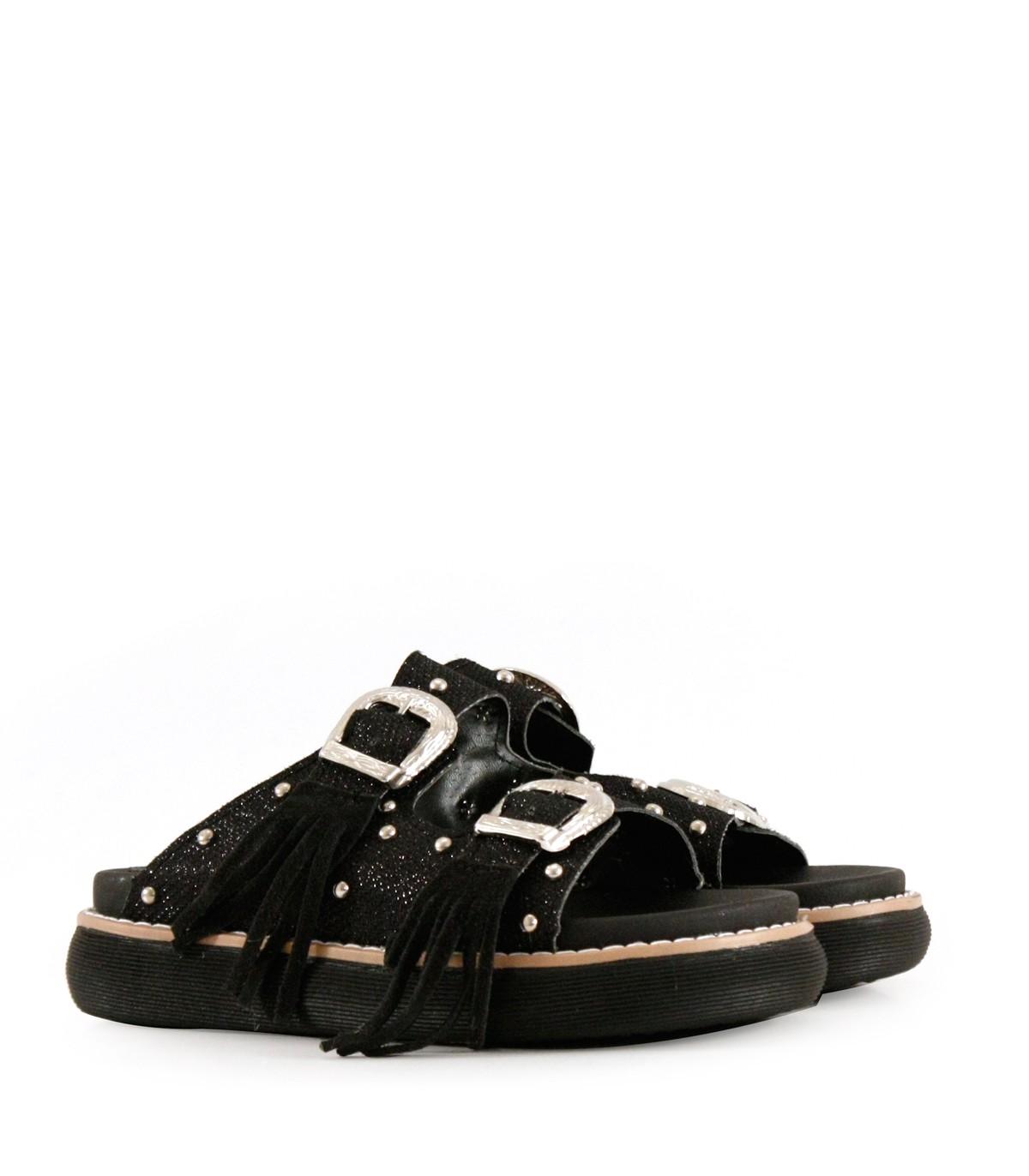 80b12818a65 Sandalias de símil cuero en negro con flecos