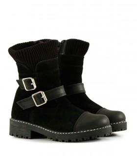 Botas cortas de descarne gamuzado negro