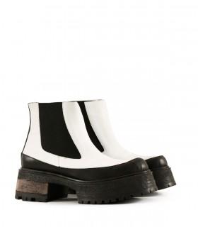 Botas cortas de cuero en blanco/negro