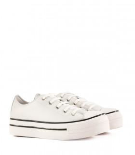 Zapatillas con plataforma de cuero blanco