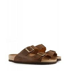 Sandalias de cuero en marrón con hebillas