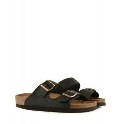 Sandalias de cuero en negro con hebillas