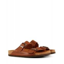 Sandalias de cuero en oxido con hebillas