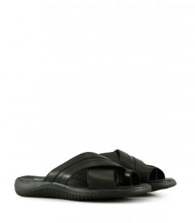 Sandalias de cuero negro picado