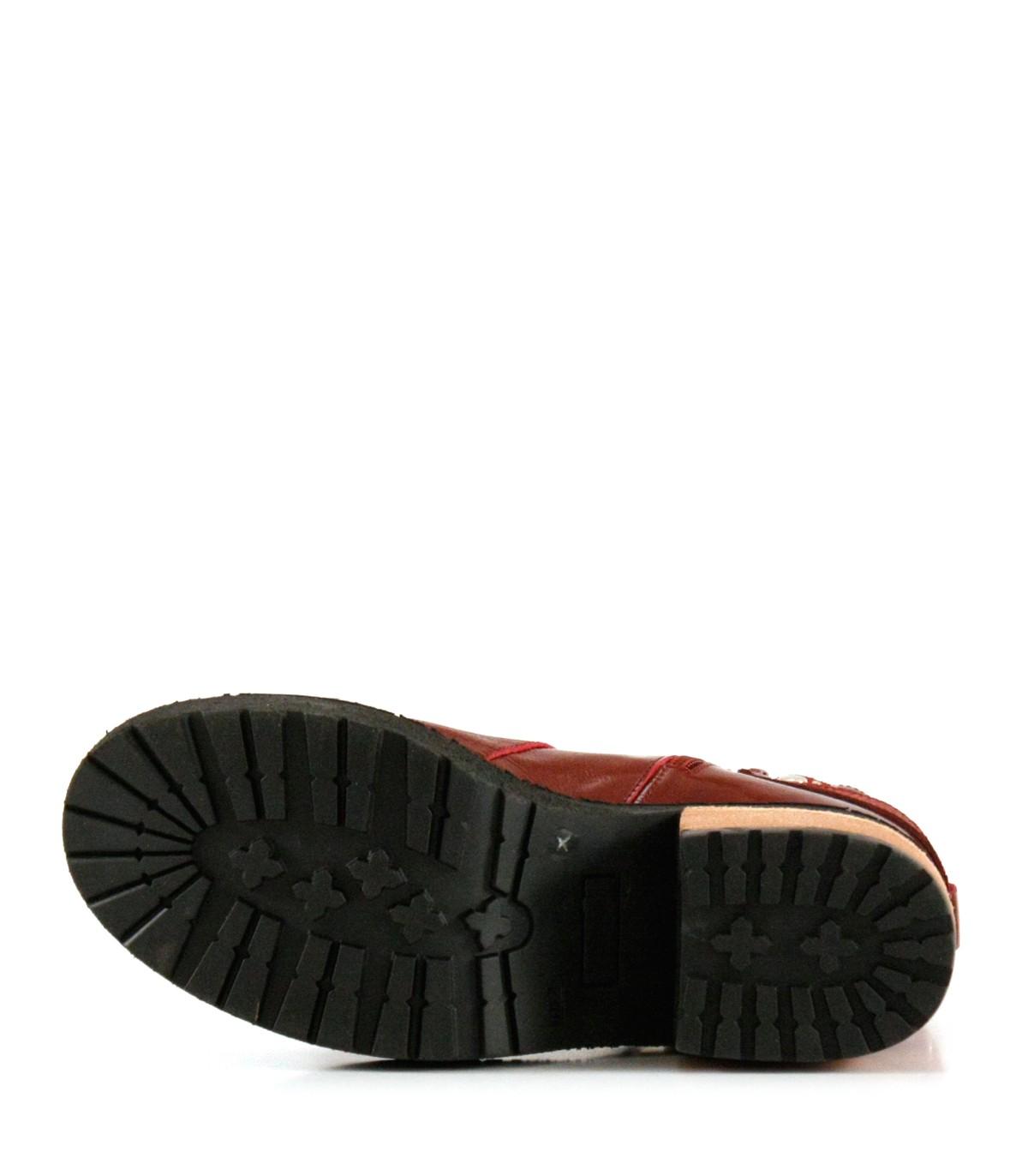 Botas cortas de charol bordó|Mujeres|Batistella