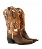 Botas altas texanas de cuero suela combinadas