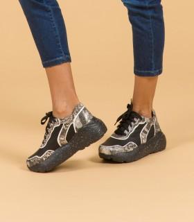 Zapatillas de cuero en negro/gris