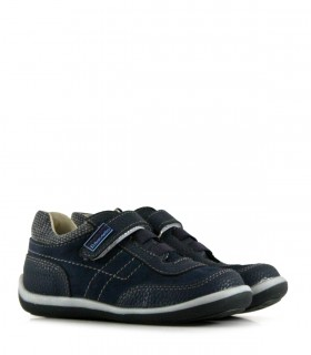 Zapatos de cuero en azul con velcro