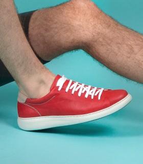 Zapatillas de cuero rojo