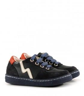 Zapatillas de cuero combinadas en azul