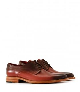 Zapatos de vestir pintados a mano de cuero bordo