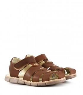Sandalias de cuero con velcro en oxido