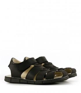 Sandalias de cuero con velcro en negro