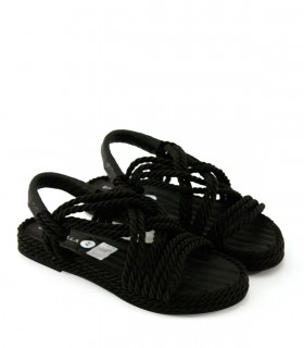 Sandalias bajas trenzadas en negro