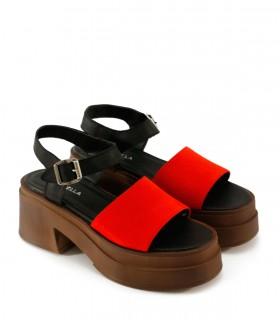 Sandalias base de gamuza en rojo/negro
