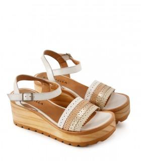 Sandalias base de cuero blanco/nude/platino