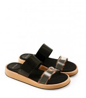 Sandalias de charol negro combinadas