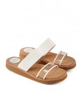 Sandalias de charol blanco combinadas