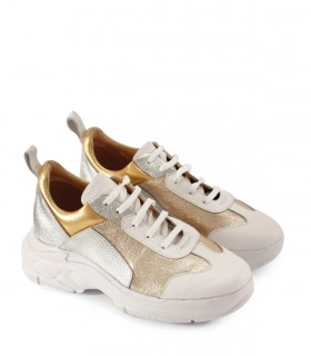 Zapatillas urbanas de cuero metalizado oro/platino