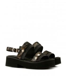 Sandalias bases de cuero en negro