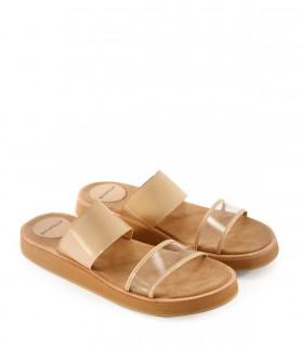 Sandalias de charol nude combinadas