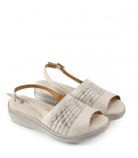 Sandalias de cuero en blanco/plata