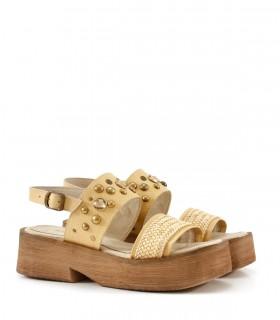 Sandalias de cuero en blonde